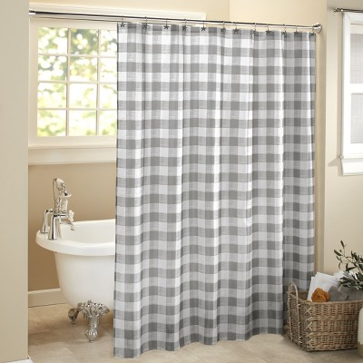 lakeside farmhouse gray check pattern shower curtain for the bathroom