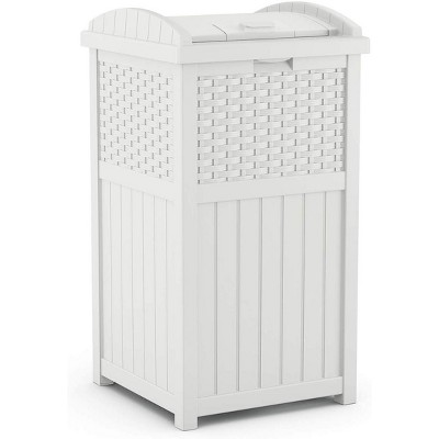 suncast ghw1732wh 15 75 x 16 x 31 6 trashcan hideaway outdoor commercial 33 gallon 31 6 resin garbage waste bin with lid in white for garage
