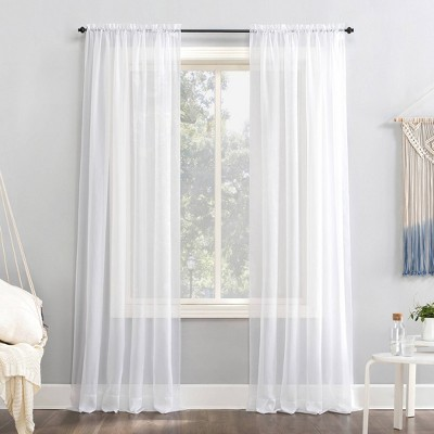 95 x59 emily sheer voile rod pocket curtain panel white no 918