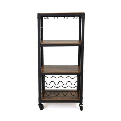 mind reader rolling 4 tier bar cart with wine rack and wine glasses storage