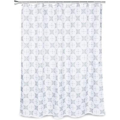 grey trellis shower curtain set with 12 hooks for modern bathroom 70 x 71 in