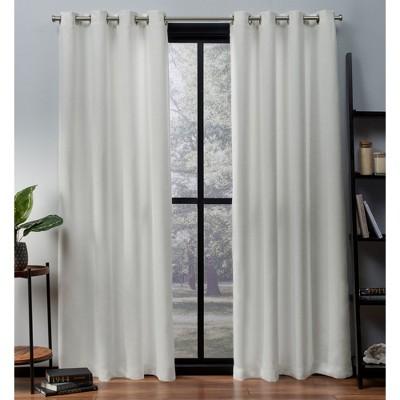set of 2 63 x52 oxford textured sateen thermal room darkening grommet top window curtain panel vanilla exclusive home