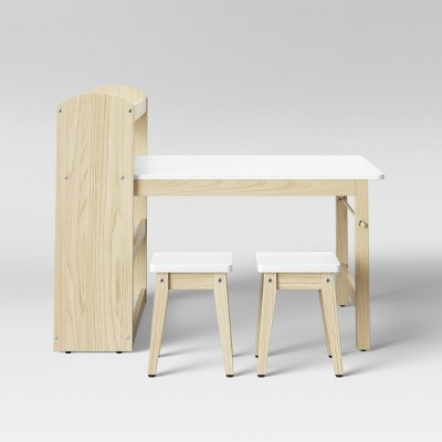 robinson kids storage activity table and stools with shelf white pillowfort