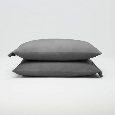standard washed supima percale solid pillowcase set dark gray casaluna