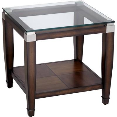 elm lane barrett 24 wide brown oak and clear glass end table