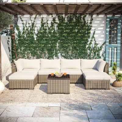 https www target com p 7pc wicker rattan patio set beige accent furniture a 83084535