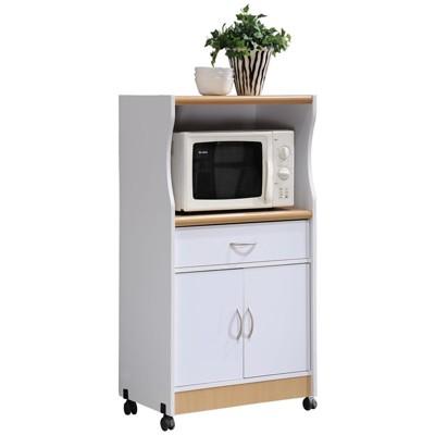 microwave kitchen cart in white hodedah