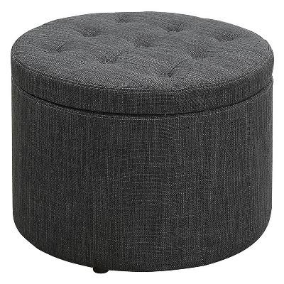 round shoe ottoman gray fabric breighton home