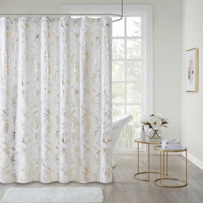 megan printed floral metallic shower curtain gold