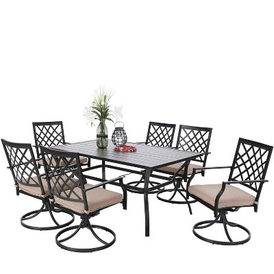 7pc patio set with 37 table 6 swivel arm chairs captiva designs
