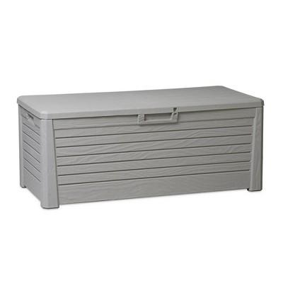 toomax florida uv resistant lockable deck storage box bench for outdoor pool patio garden furniture indoor toy bin container 145 gallon warm grey