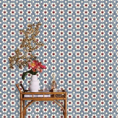 hexagon tile mosaic peel stick wallpaper blue opalhouse