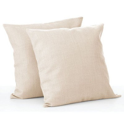 mdesign decorative faux linen throw pillow cover 18 x 18 inches 2 pack cream
