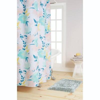 72 x72 callie cotton fabric shower curtain blue pink nicole miller