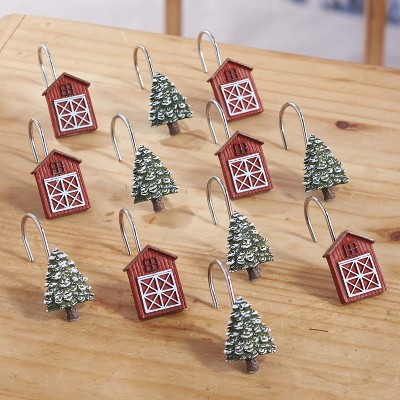 lakeside christmas shower curtain hooks with decorative trees and barns set of 12