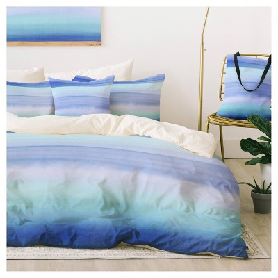 blue amy sia ombre watercolor duvet cover set twin xl deny designs
