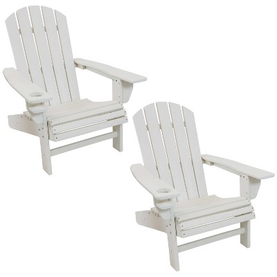 sunnydaze plastic all weather heavy duty outdoor adirondack patio chair with drink holder white 2pk