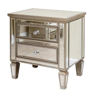 ofelia mirrored 2 drawer nightstand silver abbyson living
