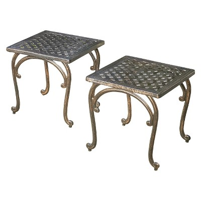 mckinley set of 2 cast aluminum patio end tables copper christopher knight home