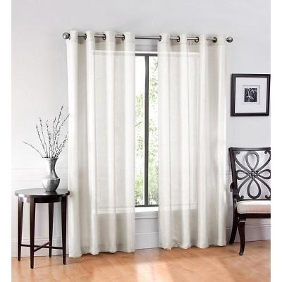 goodgram ultra luxurious elegant sheer grommet curtain panels 54 in w x 84 in l ivory