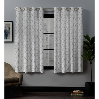 84 x52 amelia embroidered grommet top blackout window curtain panels white exclusive home