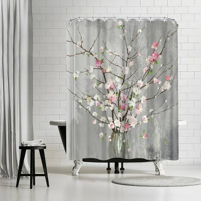 americanflat delicate pink blooms by pi creative art 71 x 74 shower curtain