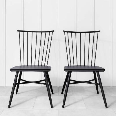 2pk indoor outdoor metal patio dining chair set black hearth hand with magnolia