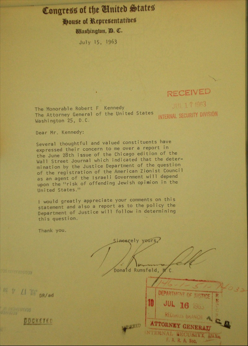 Donald Rumsfeld letter to Bobby Kennedy