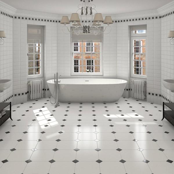 classic octagonal white 316x316 black taco floor tile