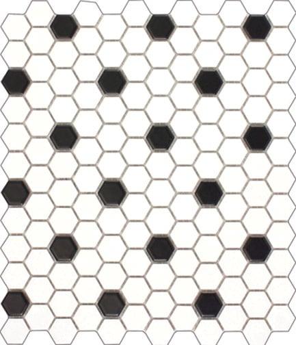 hexagon matt black white mosaic 297x257mm