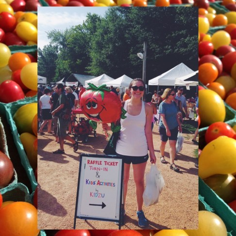 A picture of me, holding a tomato balloon and a bag of tomatoes, on top of a picture of tomatoes.