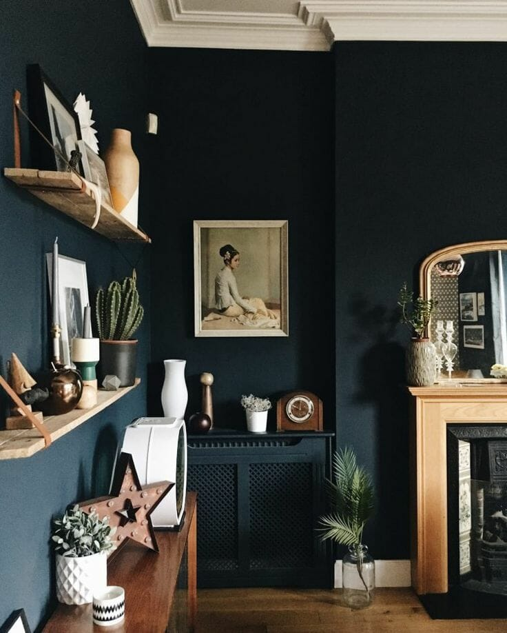 Dark navy walls with shelves of knick knacks and a painting of a woman in gray.
