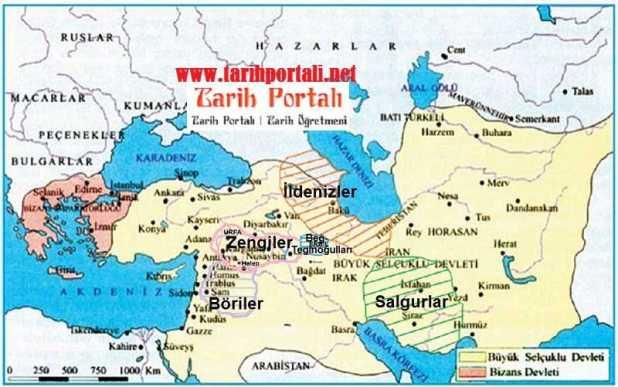 Büyük Selçuklu Devleti yıkıldıktan sonra kurulan atabeylikler haritası
