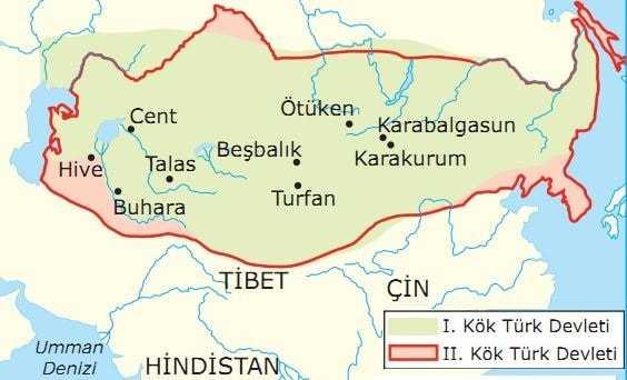 I. ve II. Kök Türk Devleti'nin en geniş sınırlarının gösterildiği harita