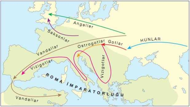 Kavimler Göçü Haritası