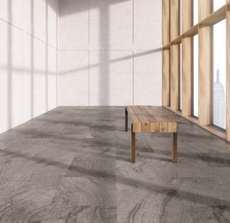 Sideview of wooden bench in interior with concrete wall, parquet flooring and windows with New York city view. 3D Rendering