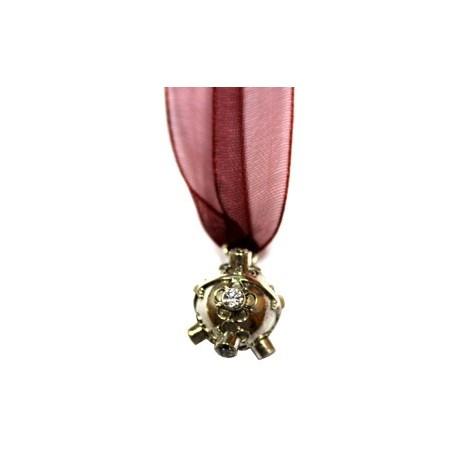 Llamador de Ángel, realizado en plata 925 y lazo de organza.