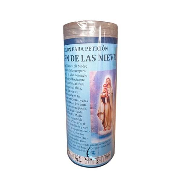 Velón de oración con aceite Virgen de las Nieves