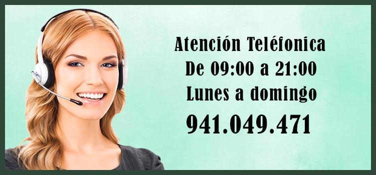 Atención telefónica de 09 a 21