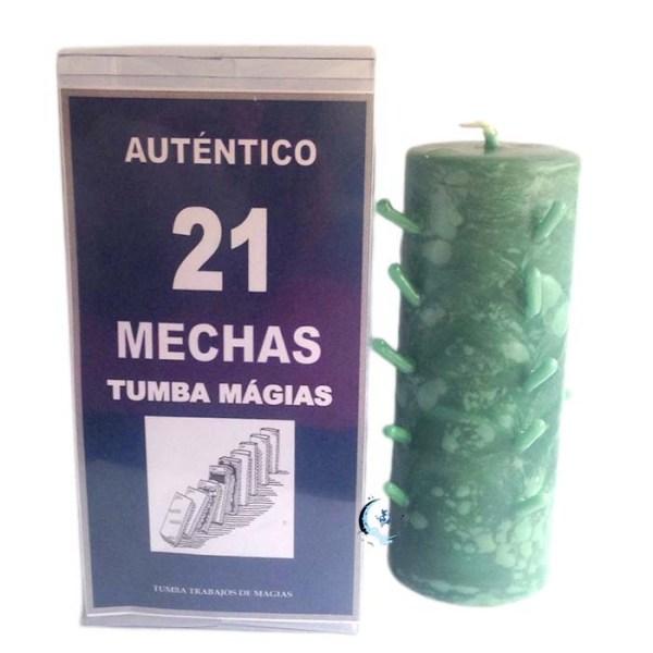 Velón 21 mechas verde
