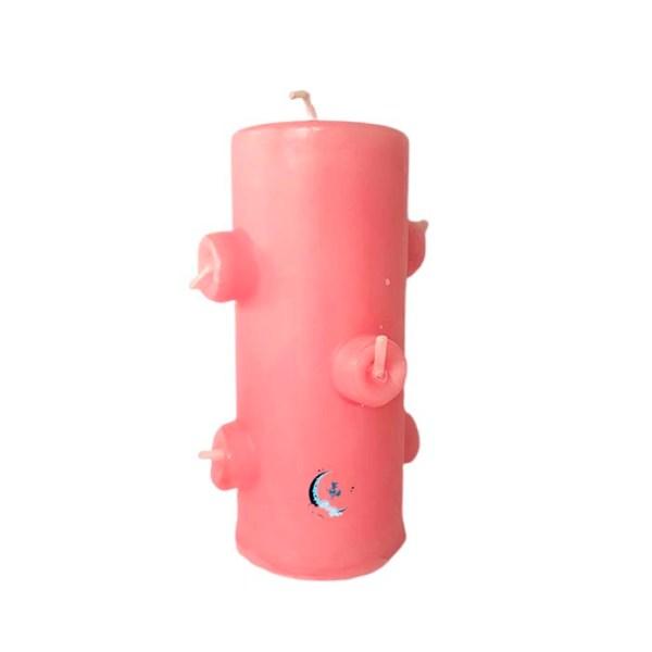 Velón 7 mechas rosa