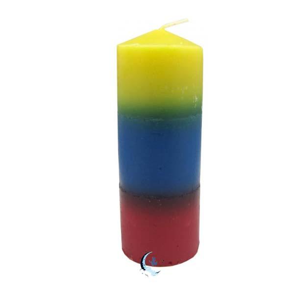 Velón tricolor azul amarillo rojo