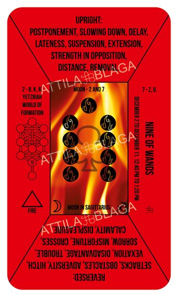 Traditional Divinatory Tarot, Nine of Wands