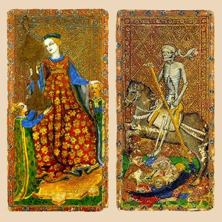 The Queen of Cups and Death, Cary-Yale Visconti Tarot deck