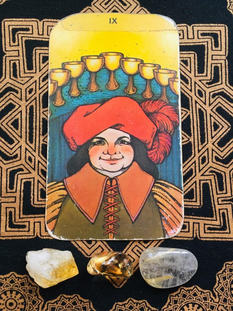 nine of cups happiness tarot card