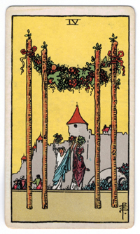 Vintage Rider Waite Tarot - 4 of Wands