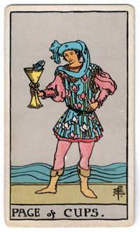 Vintage Rider Waite Tarot - Page of Cups