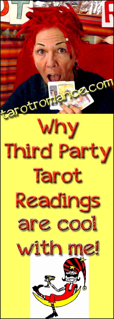 """Do I give 'third party Tarot readings'? (Readings about people who are not actually present?) Well, my (possibly controversial) answer is """"all the time""""! Tarot Romance #tarotreadings #thirdpartyreadings #biddytarot #tarot"""