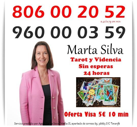 Vidente de nacimiento Marta Silva por visa 5€ 10 min. 806 por 0,42 cm min.