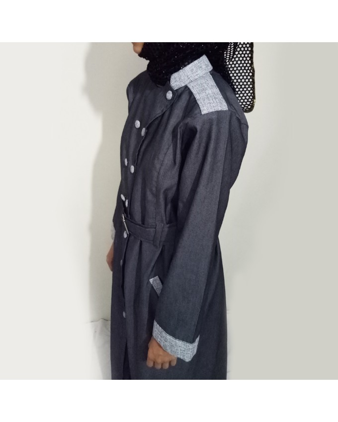 Grey Front Buttoned Checkered Velvet Strips Denim Abaya Online In Pakistan